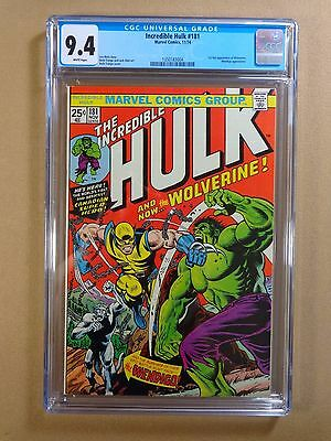 1974 Marvel Comics Incredible Hulk #181 CGC 9.4 - 1st Wolverine!