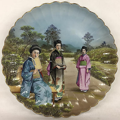 Antique large Japanese old Porcelain Hand Painted Charger Geishas Signed
