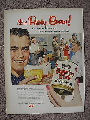 1955 Goetz Party Brew Country Club Malt Liquor Large Full Page Color Ad