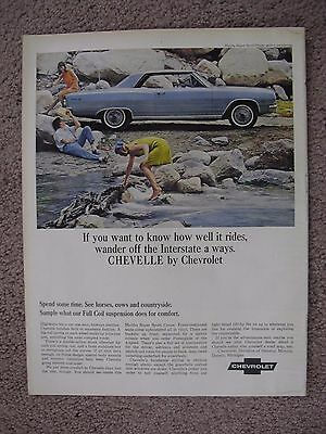 1965 Chevrolet Chevelle Large Full Page Color Ad Free Shipping