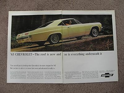 1965 Chevrolet Impala Large 2 Page Color Ad Free Shipping
