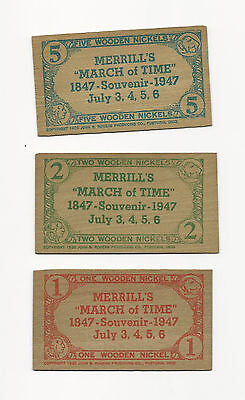 3 Vintage 1947 March Of Time Souvenir Wooden Nickel Lot From Merrill Wisconsin