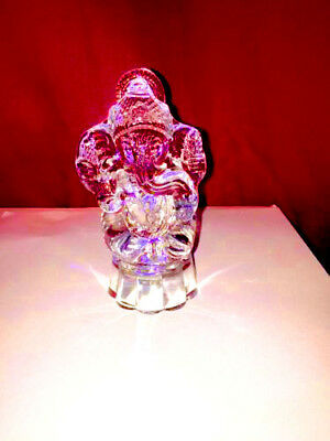 Lord Ganesha in Pure Clear Natural Quartz Crystal Sphatik in Lighting colours_UK