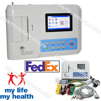 FDA 3 Channel ECG EKG Machine 12 Leads electrocardiograph PC Software,US Seller