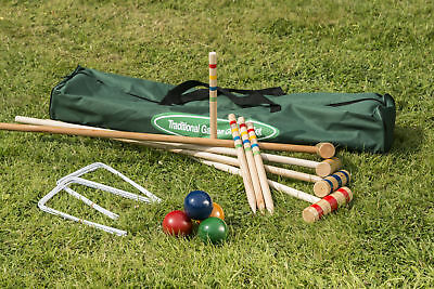Traditional Garden Games Family Wooden Croquet Set Summer Outdoor 4 Players