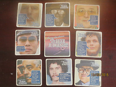 "Set of 9 Complete TOOHEYS NEW ""BEER JUDGES""  Beer collectable COASTERS,"
