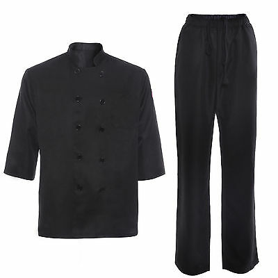 UNISEX Chefs Jacket Coat Uniforms Cook Waiter Trousers Pants Clothing Workwear