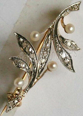 1.10ct ROSE CUT DIAMOND PEARL .925 STERLING SILVERWEDDING ANNIVERSARY BROOCH PIN