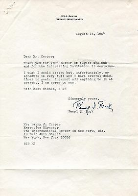 Pearl S. Buck NOBEL PRIZE autograph, typed letter signed