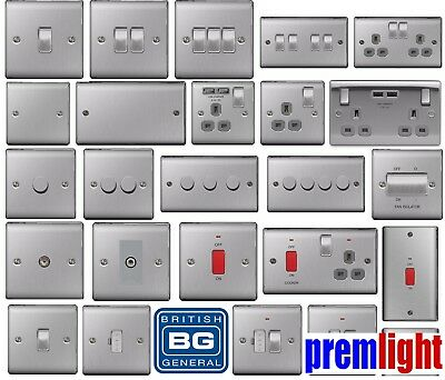 Bg Nexus Metal Brushed Steel Decorative Light Switches & Sockets - Grey Inserts
