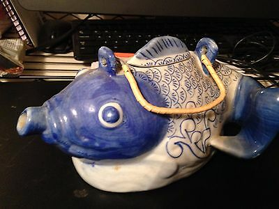 Antique Oriental kio goldfish Tea Pot. W/ Lid Blue & White Hand Painted