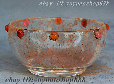 Collect Rare Chinese Dynasty Palace Glass Inlay gemstone Bowl ashtray sculpture