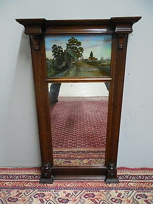 """Antique Federal Walnut Reverse Painted Glass Mirror 29.5""""H x 13""""W"""