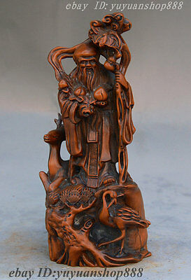 Chinese Taoism Boxwood Pure Hand Carved Longevity God Deer crowned crane Statue