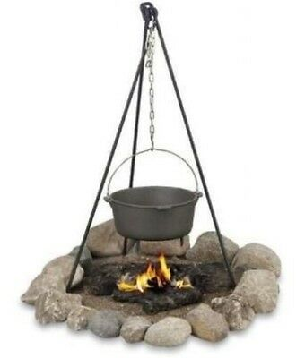 3' Steel Campfire Tripod Portable Grill Oven Pot Hanger Cooking Outdoor Picnic