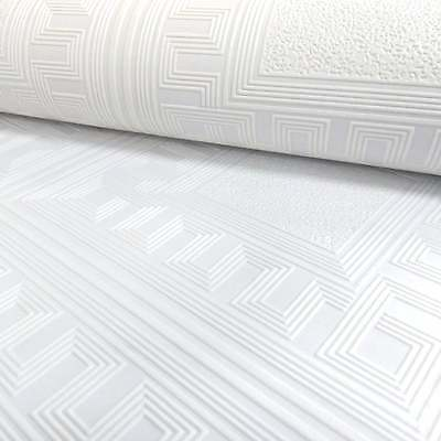 Modern Embossed White Paintable Wallpaper Vintage Aztec Square Richmond 5835