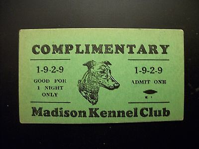 Vintage 1929 Madison County IL Kennel Club Greyhound Racing Pass