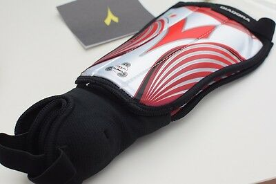 Genuine Diadora Gamma Flash Football Shin Pads/Guards - Red/White or Black/White