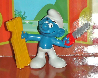 Vintage Handy Smurf With A Board & A Saw 1979 Smurf Lot