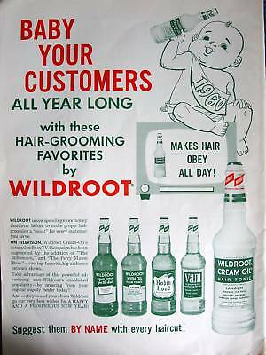 Vintage 1960 New Year's Baby Barbershop Wildroot Hair Tonic Color Sign