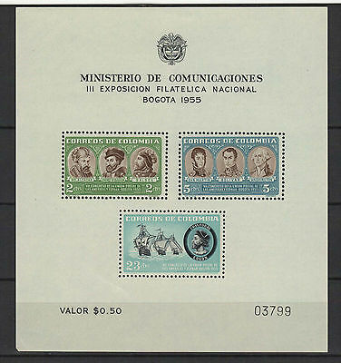 COLOMBIE 1955 exposition Bogota  feuillet 3 timbres neufs /B5Bar
