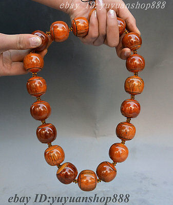 Collect Old Chinese Buddhism Temple Boxwood Buddha Bead Woven Necklace Jewelry