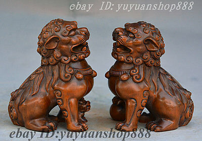 Chinese Boxwood Hand Carved FengShui Animal Foo Fu Dog Guardion Lion Statue Pair