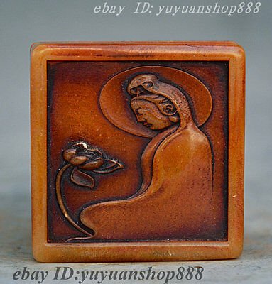Chinese Buddhism Shoushan Stone Jade Hand Carved GuanYin Seal Stamp Signet Boxes