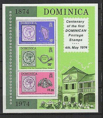 Dominica 1974 centenary of the first dominican  feuillet 3 timbres neufs /B5Bar2