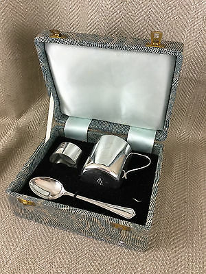 Vintage Silver Plate Christening Set Boxed Cat Kitten Baby Cup Spoon Napkin Ring