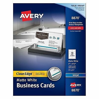 Two-Sided Printable Clean Edge Business Cards, Matte White 1000 Cards/100 Sheets