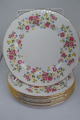 Queen Anne Country Bouquet Side Plates x 6 Bone China 16 cm Pink British 1st