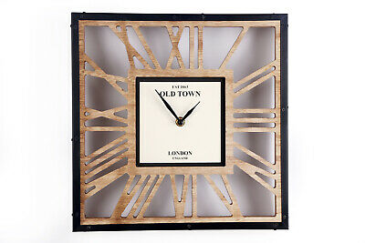 30cm Old Town Wood London Vintage Roman Numeral Square Cut Out Mantel Clock