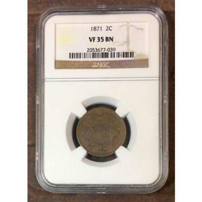 1871 Two Cent Piece NGC VF35 BN ***Rev Tye's Coin Stache*** #703994