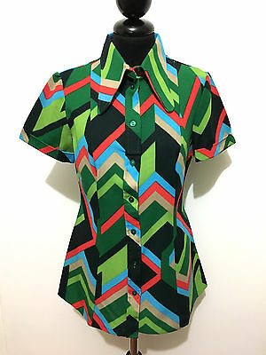 CULT VINTAGE '70 Camicia Donna Jersey Optical Woman Shirt Sz.M - 44