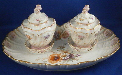 Superb KPM Berlin Porcelain Floral Inkwell & Tray Set Porzellan Tintenfass Ink