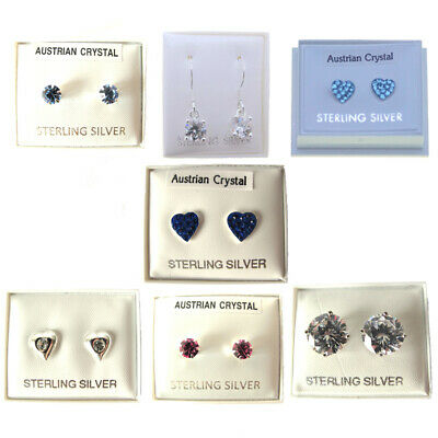 Sterling Silver Earrings Childrens Girls Jewellery Studs Cubic Zirconia Crystals