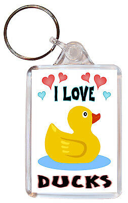 I Love Ducks / Duck - Double Sided Large Keyring Key Ring Fob Chain Gift