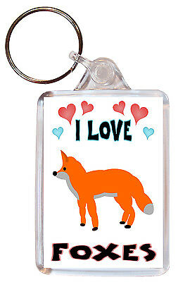 I Love Foxes / Fox - Double Sided Large Keyring Key Ring Fob Chain Gift