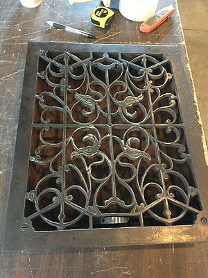 Ca 60 Antique Cast-Iron Floor Or Wall Mount Heating Grate Birds 12 X 15""