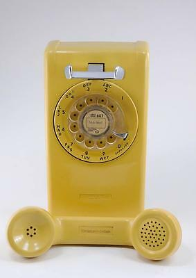 Vintage Rotary Dial Wall Phone Stromberg Carlson Mustard Yellow Telephone