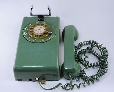 Vintage Rotary Dial Wall Phone ITT Green Telephone