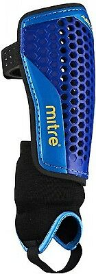 Mitre Aircell Carbon Ankle Protect Football Shin Pads - Blue/Cyan/Yellow, Medium