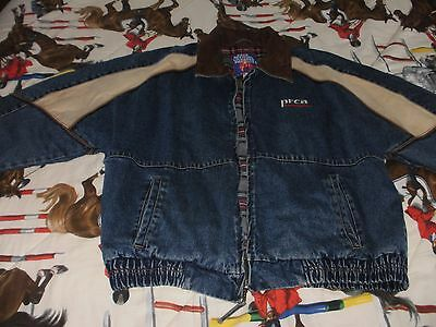 PRCA MEN'S RODEO JACKET BLUE DENIM & TAN CANVAS FLANNEL LINED SIZE LARGE vintage