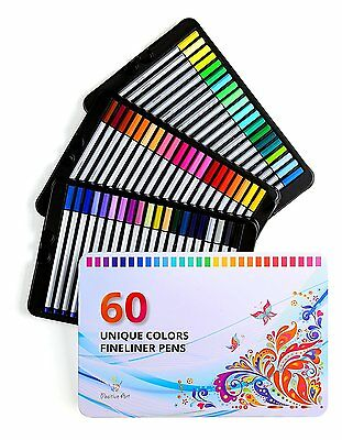 Positive Art Fineliner Coloring Book Pens Set 60 Colors Ultra Fine Tips 0.4 mm