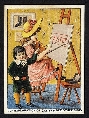 SHOES BOOTS SLIPPERS Trade Card 1880's BUCKSPORT MAINE A H Genn & Co A.S.T. CO