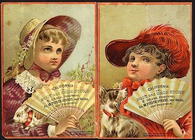 CALIFORNIA BOOT SHOE Store Trade Card 1880's SAN FRANCISCO Little Girls & Fans