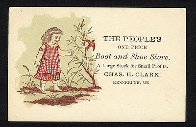 Kennebunk Maine PEOPLE'S BOOT and SHOE STORE Victorian Trade Card CHARLES CLARK