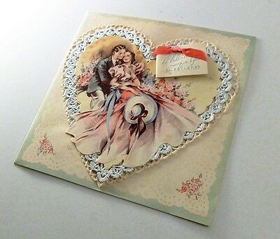 VALENTINE to Sweetheart RUST CRAFT Greeting Card Silver Paper Lace Romance 1940s