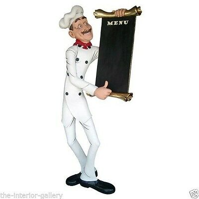 Chef Cook with Menu Sign Life Size - Food Sign - Skinny Chef with Menu 4 FT